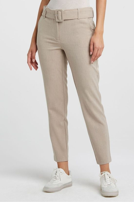 Yaya Pantalon With Contrast Stitching Ecru