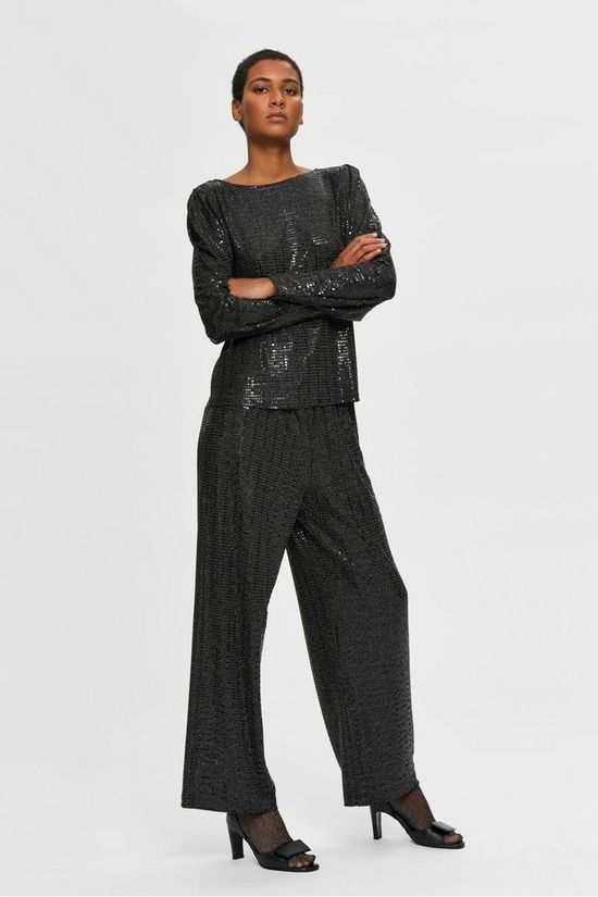 Selected Trousers sandra Mw Wide B black