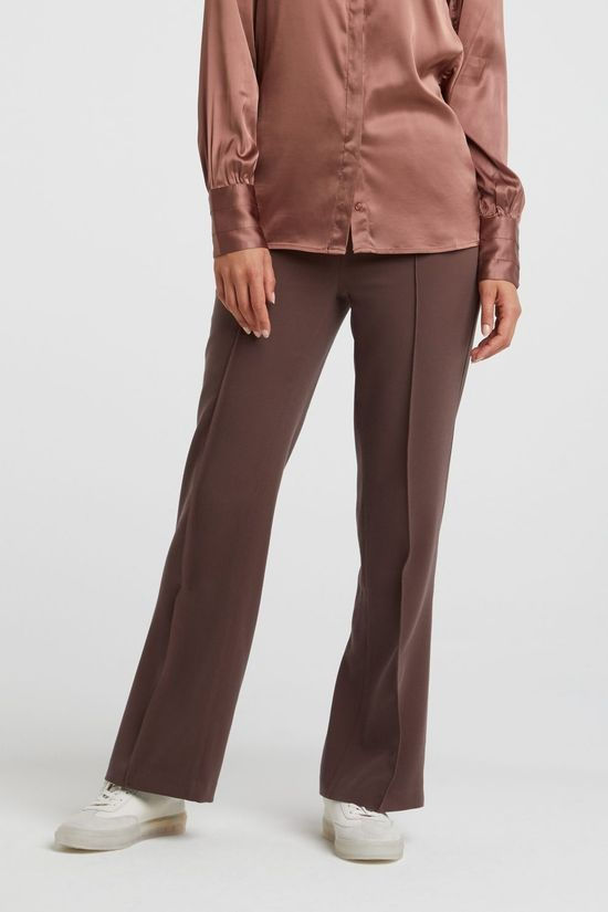 Yaya Broek Relaxed Trousers With Wide Legs And Pintucks Middenbruin