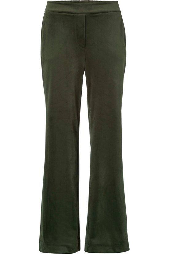 Yaya Broek Velvet Stretch Relaxed Trousers With Wide Legs Donkergroen