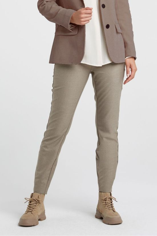 Yaya Trousers Soft Stretch Tweed Trousers Taupe