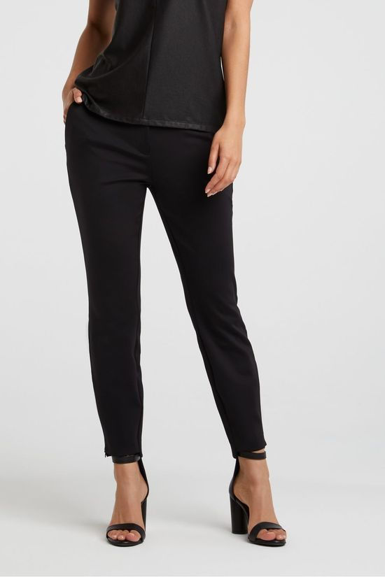 Yaya Trousers Jersey Stretch Tailored Trousers With Satin Waistband black