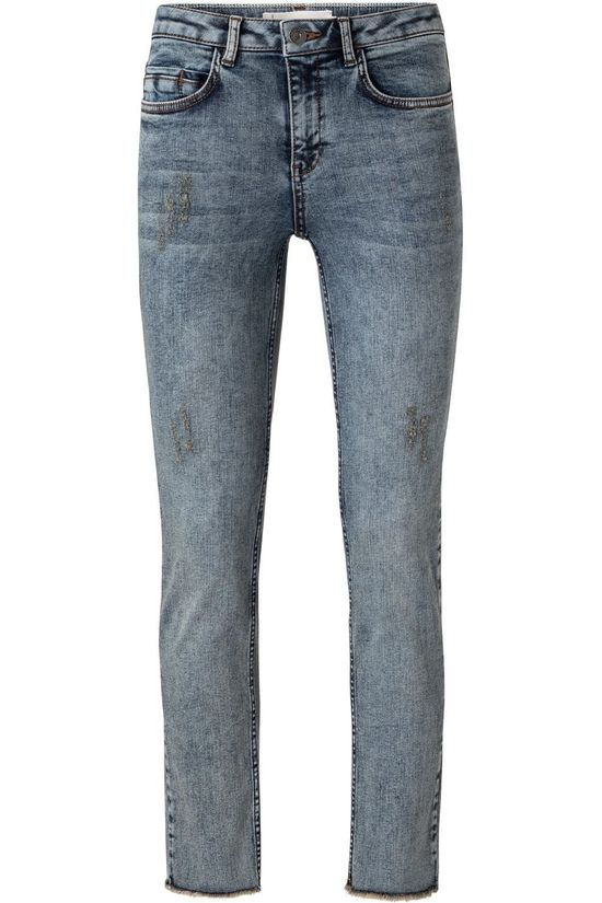Yaya Jeans Straight Denim With Frayed Hems Middenblauw (Jeans)