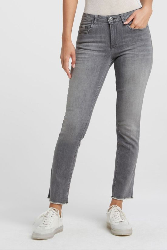 Yaya Jeans Straight With Frayed Hems mid grey
