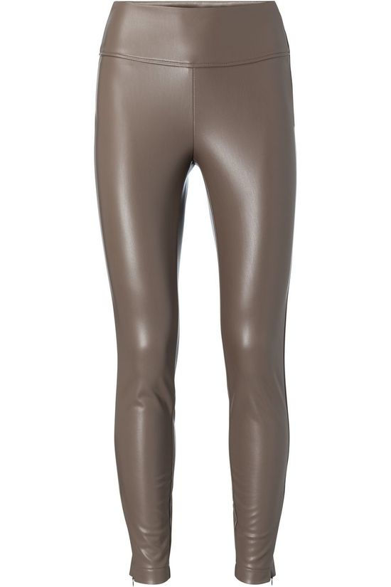 Yaya Legging Faux Leather Brun moyen