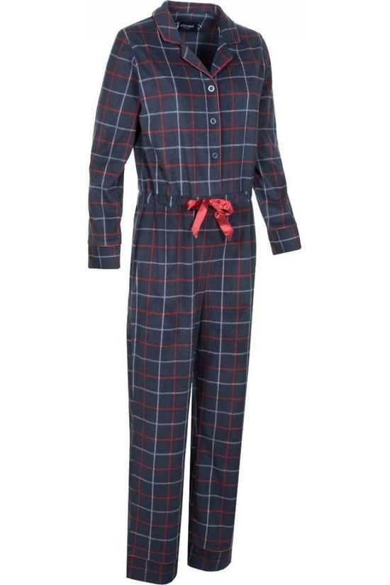 Eskimo Pajamas Tartan Onesie - Coral Fleece Navy Blue/Mid Red