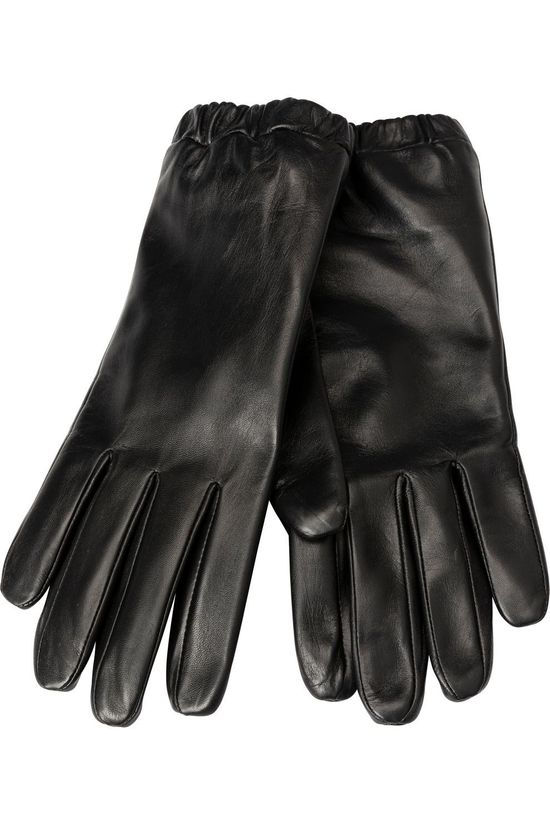 Yaya Gant Leather Gloves Noir