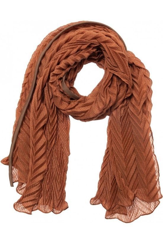 Yaya Echarpe Pleated Scarf Rouille
