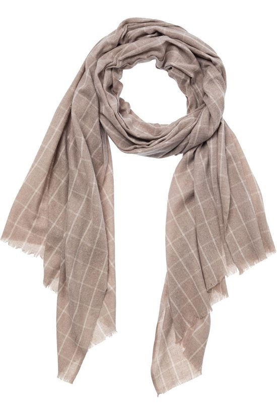 Yaya Sjaal Recycled Fabric Scarf With Checks Ecru
