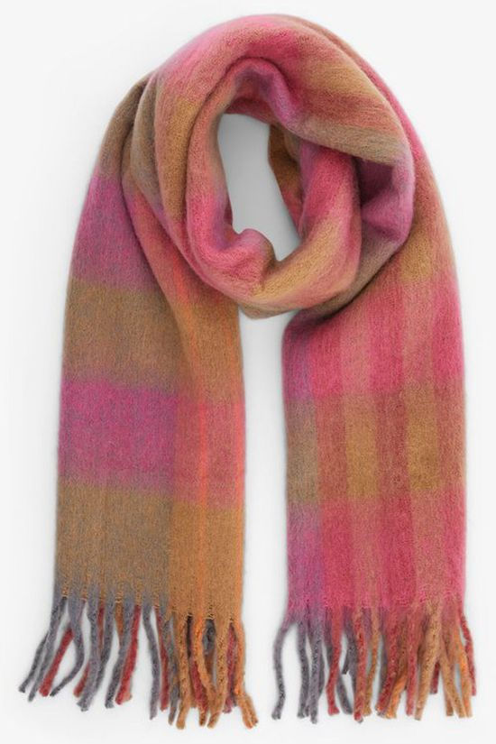 Pieces Scarf susine Long Sand Brown/Light Pink