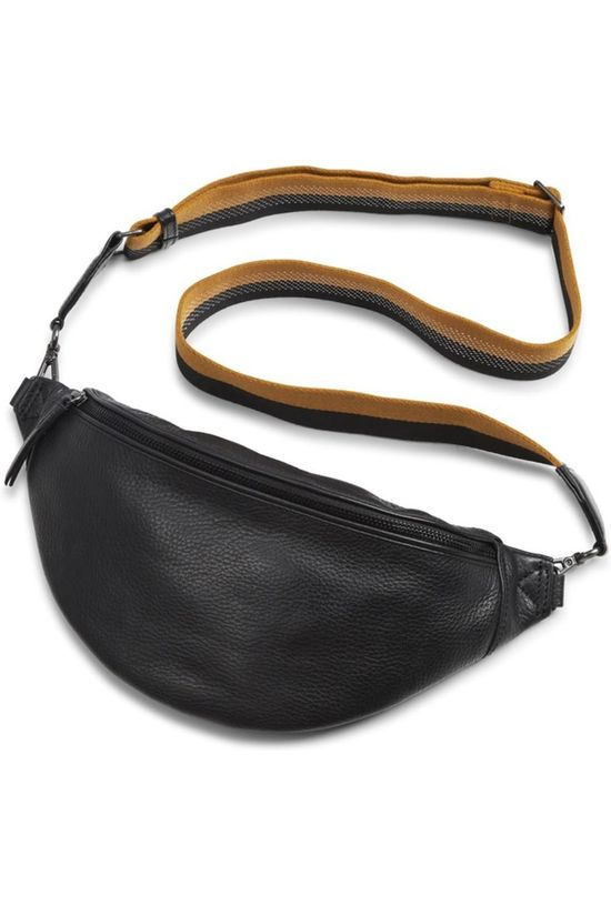 Markberg Bag Elinor Bum Bag Grain + Finley Guitar Strap Black With Mustard + Black+Silver black