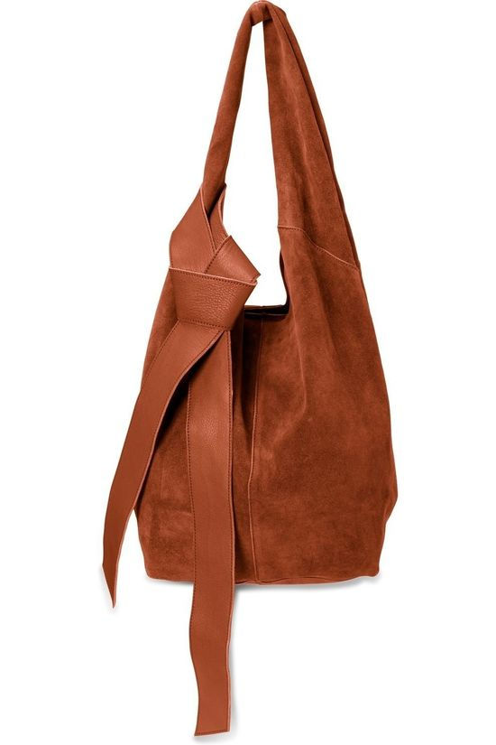 Yaya Tas Suede Shopper With Leather Strap Roest