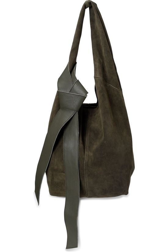 Yaya Sac Suede Shopper With Leather Strap Kaki Foncé