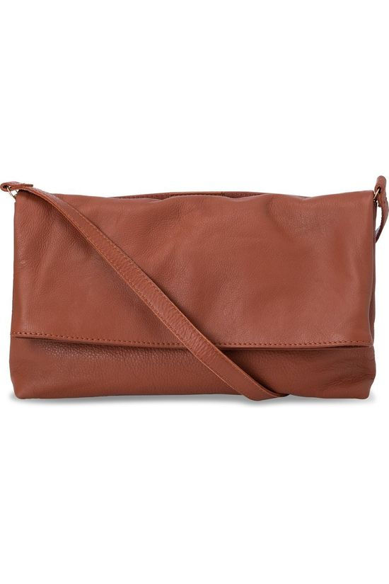 Yaya Sac Folded Leather Crossbody Rouille