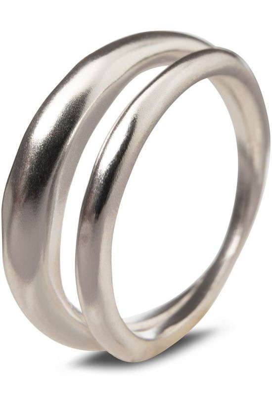 Yaya Ring Double Hammered Ring Zilver