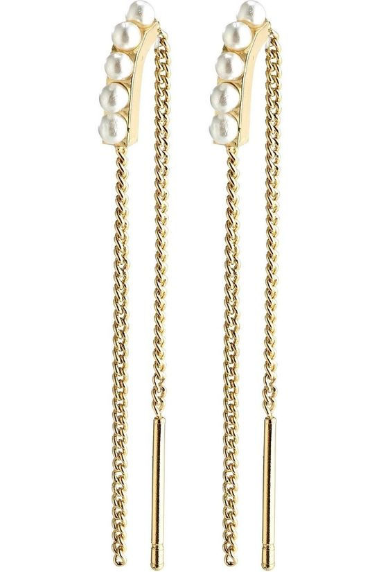 Pilgrim Boucle D'Oreille Cherised Earrings Gold Plated White Or