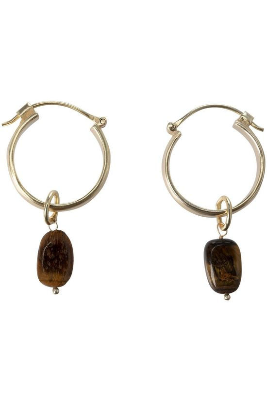 Yaya Earring Hoop Earrings With Stone Charm gold/mid brown