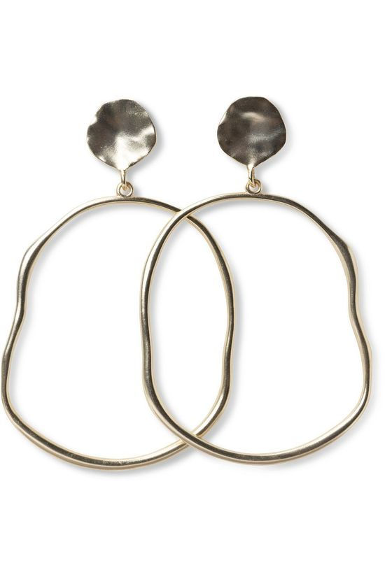 Yaya Earring Oval Hoop Earrings With Hammered Look gold