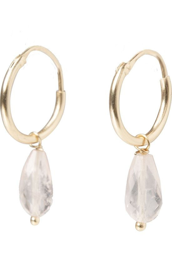 Yaya Oorbel Small Hoop Earrings With Stone Charm Goud