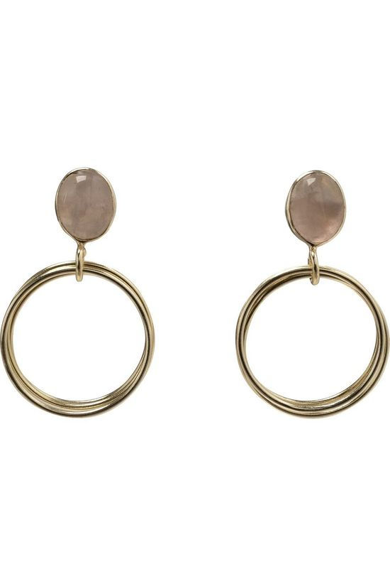 Yaya Boucle D'Oreille Earrings With Rings And Stone Or