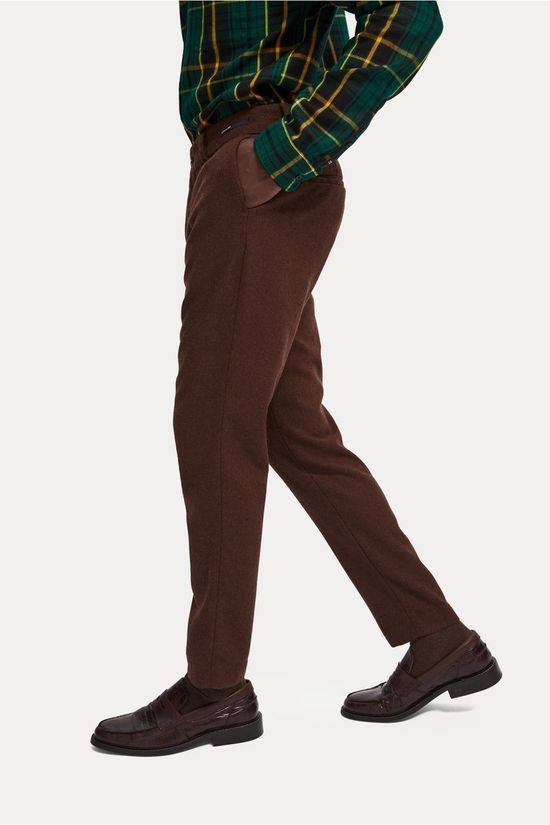 Scotch & Soda Trousers Stuart Wool mid brown