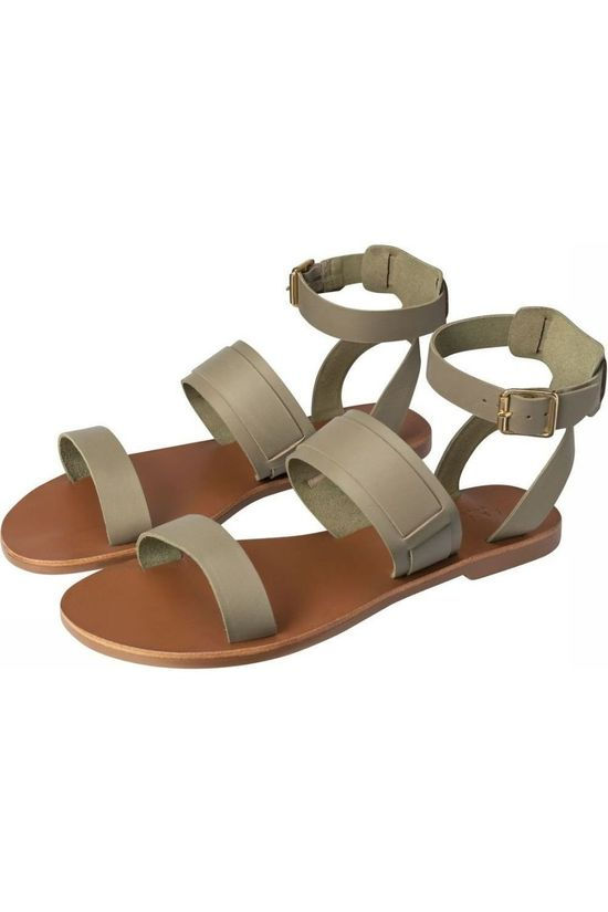 Yaya Slipper Leather Sandals With Ankle Strap Donkerkaki