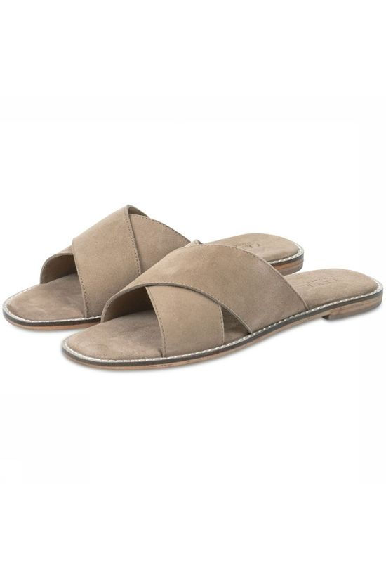 Yaya Slipper Leather Slipper Cross Over Zandbruin