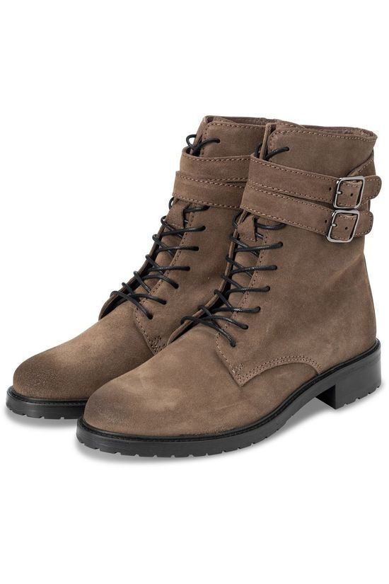 Yaya Bottine Suede Lace Boots Taupe