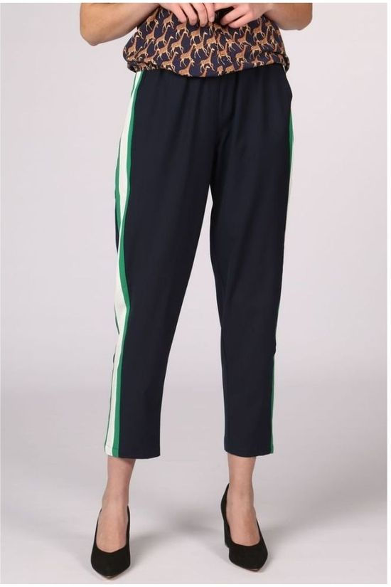 Sugarhill Boutique Pantalon Tori Side Stripe Bleu Marin/Vert Moyen