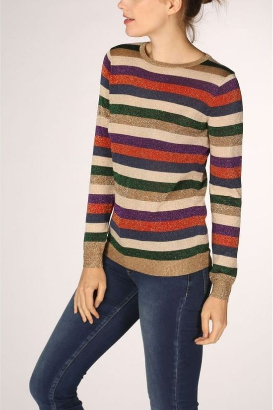 Sugarhill Boutique Pullover Alex Road Tripper Lurex Stripe Sand Brown/Rust