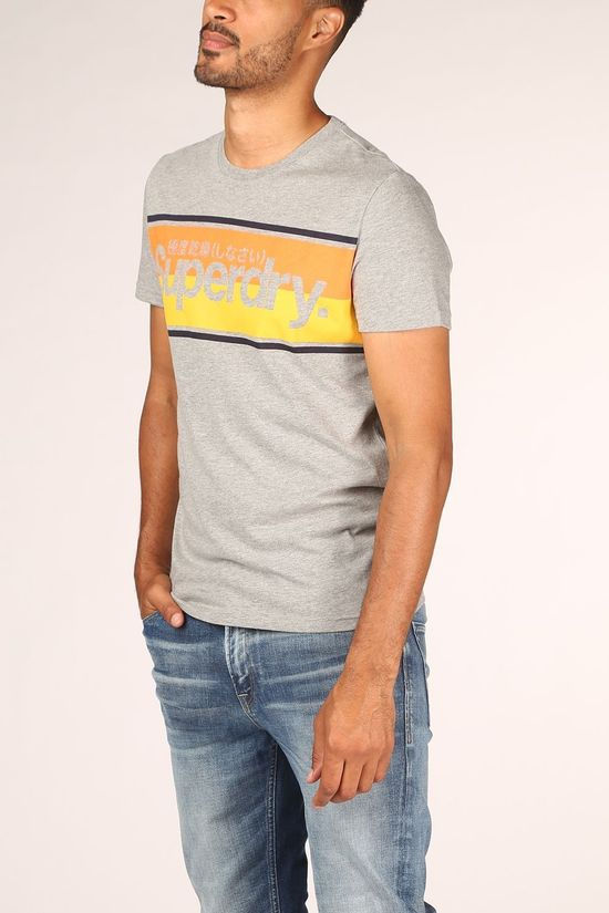 Superdry T-Shirt Core Logo Stripe Gris Clair Mélange
