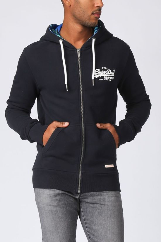 Superdry Cardigan Vl Aop Ziphood dark blue