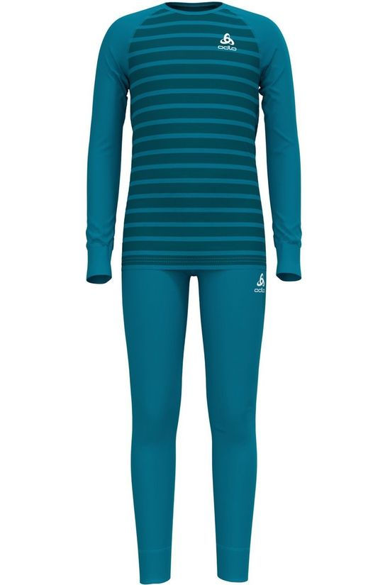Odlo Pantalon Set Active Warm Eco Bleu Pétrole/Rayures