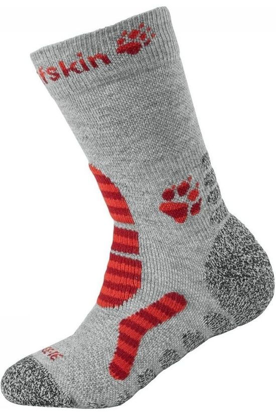 Jack Wolfskin Sock Hiking Stripe Classic Cut light grey/red