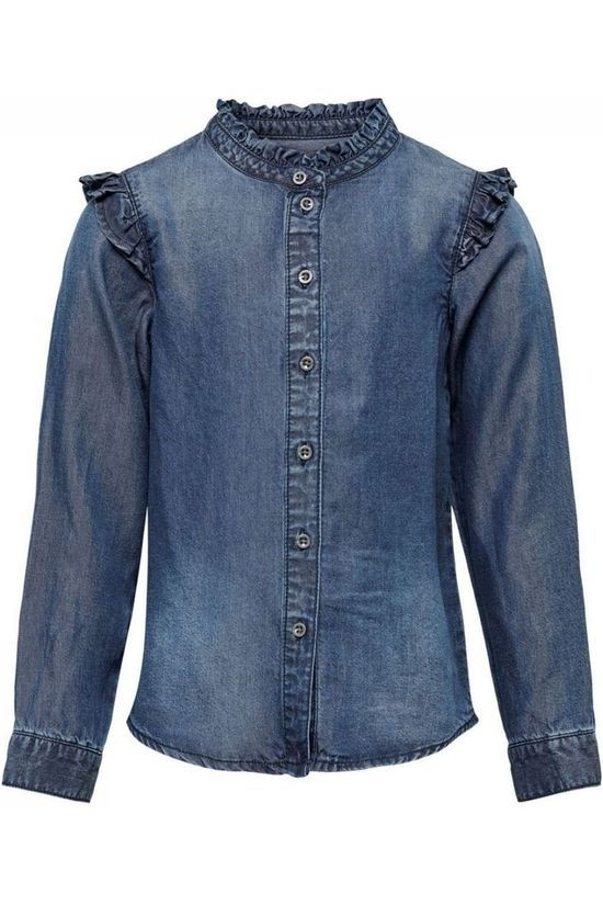 Kids Only Shirt frill Dnm Denim / Jeans/Mid Blue (Jeans)