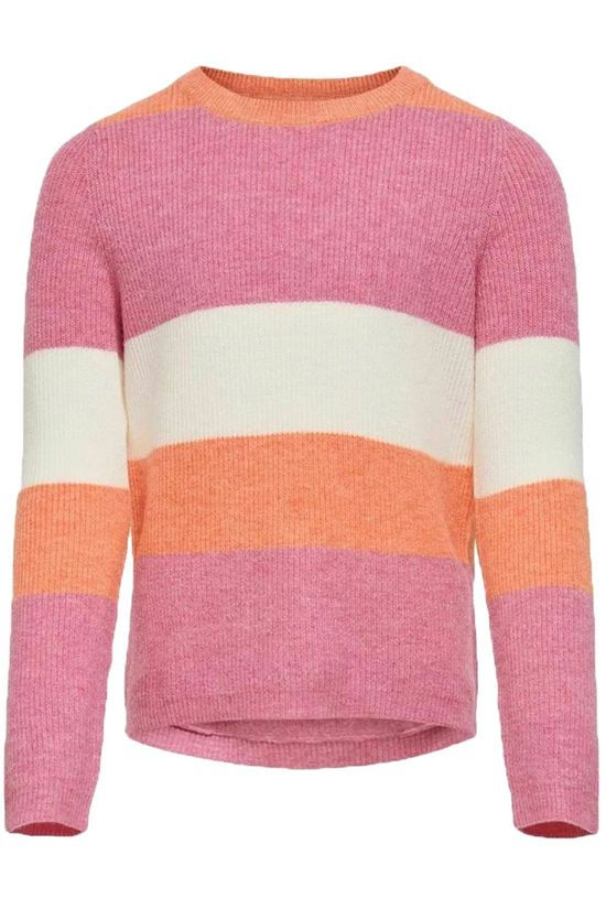Kids Only Pull Konatia L/S Stripe Knt Rose Moyen/Orange