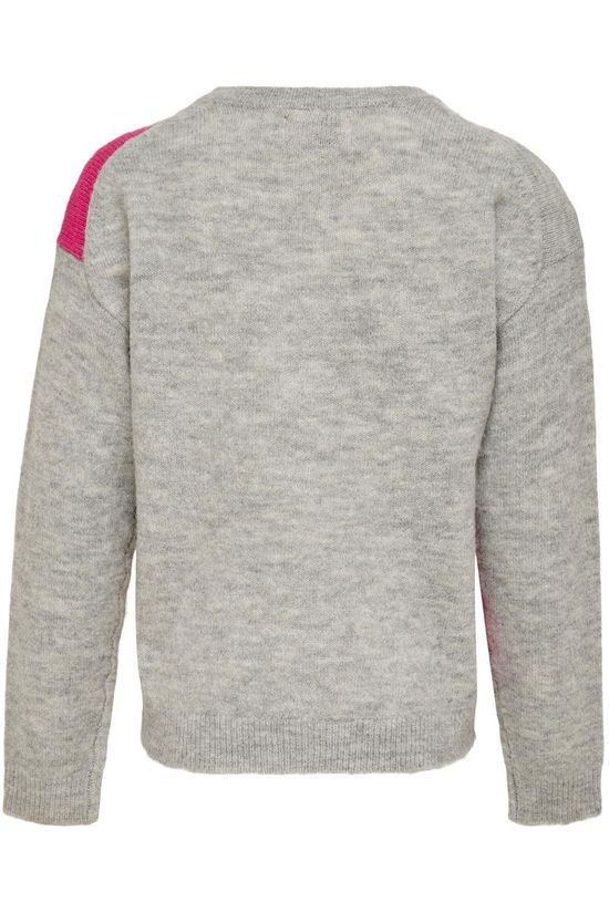 Kids Only Pull Konmaeve L/S Block Knt Gris Clair Mélange/Ass. Arc en ciel