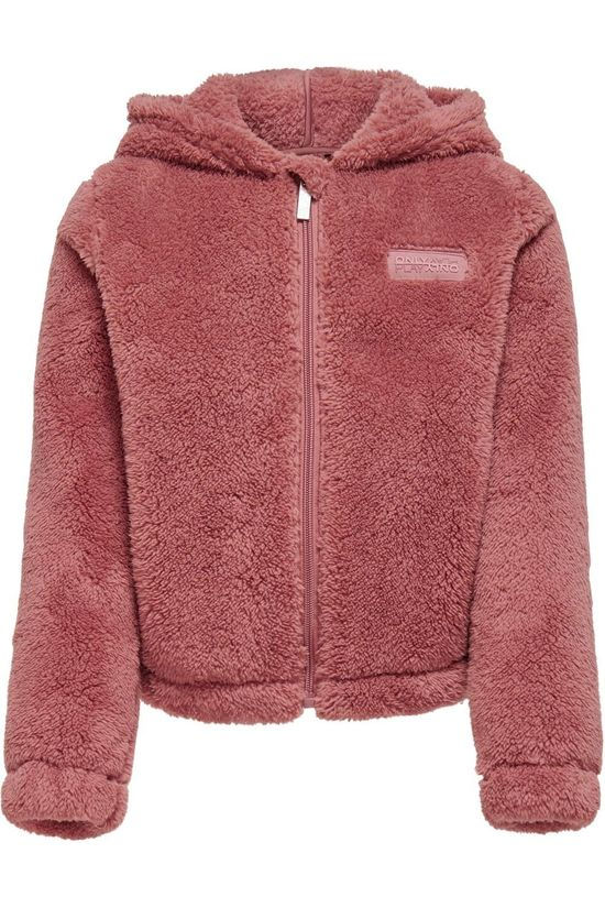 Only Play Cardigan Onpjomo Fluffy Ls Short Hood Swt Brun moyen