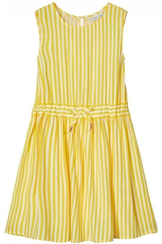 Name It Robe Nkffaya Spencer Jaune/Blanc Cassé