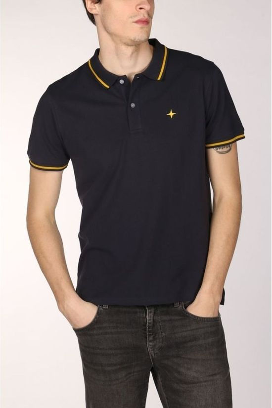 Haze & Finn Polo Mc13-0300 dark blue/mid yellow