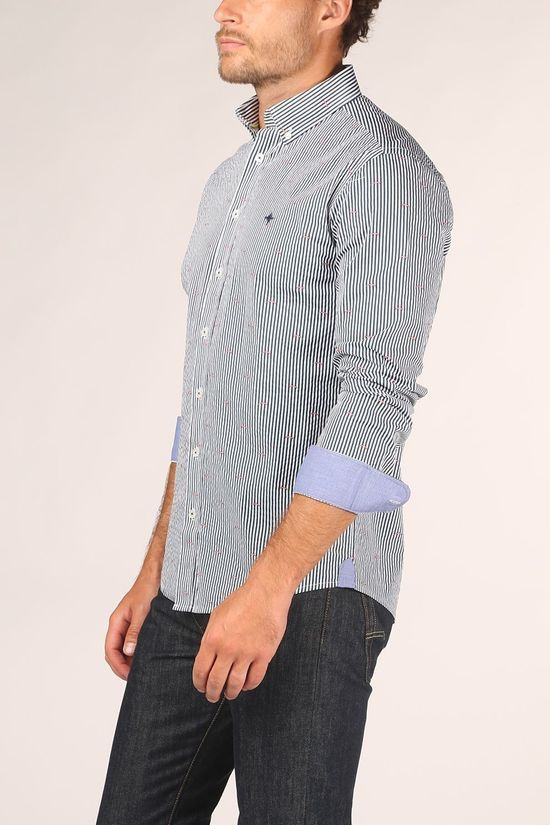 Haze & Finn Shirt Regular Fit Stretch white/dark blue