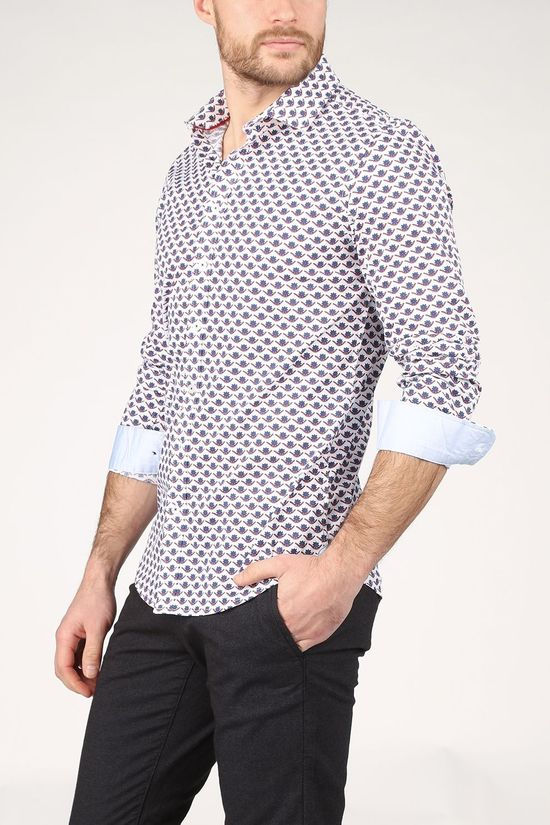 Haze & Finn Shirt Mc15-0100-13 White/Ass. Geometric