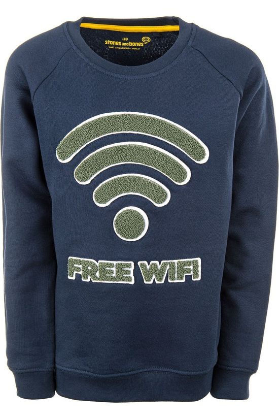 Stones and Bones Pullover Imagine - Free Wifi dark blue