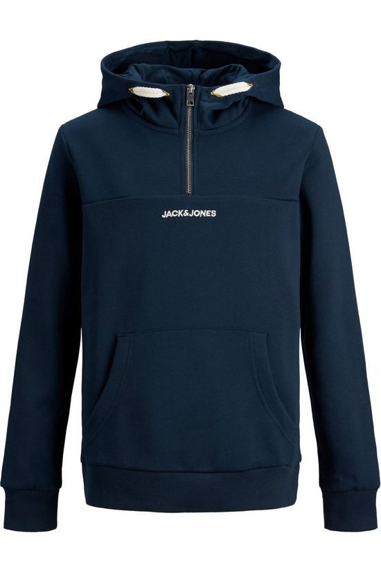 Jack & Jones Pull orratic  Sweat Half Zip Hood Jr Bleu Foncé