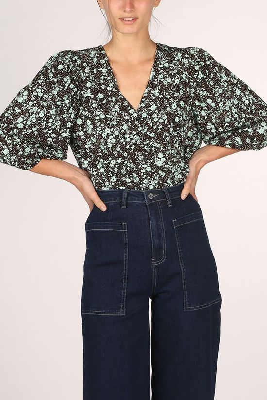 Soft Rebels Shirt SbNina 2/4 Top Black/Turquoise