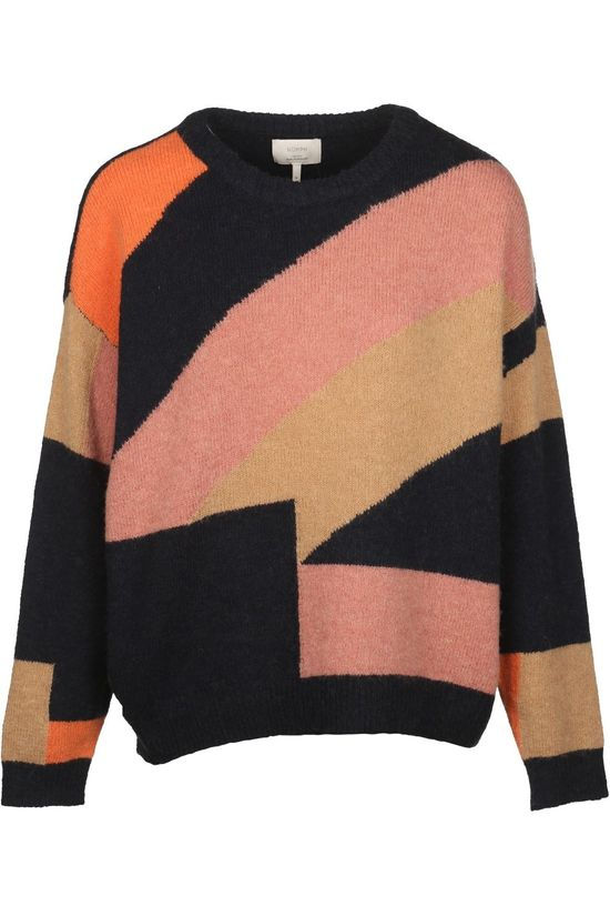 Numph Pullover Nurib Look Navy Blue/Sand Brown