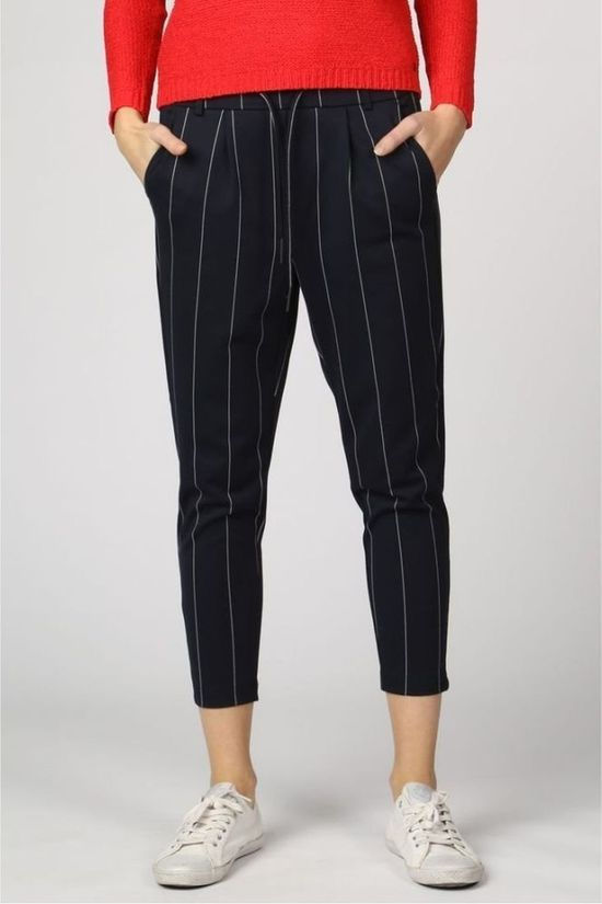 Only Broek poptrash Tempo Stripe Donkerblauw/Wit