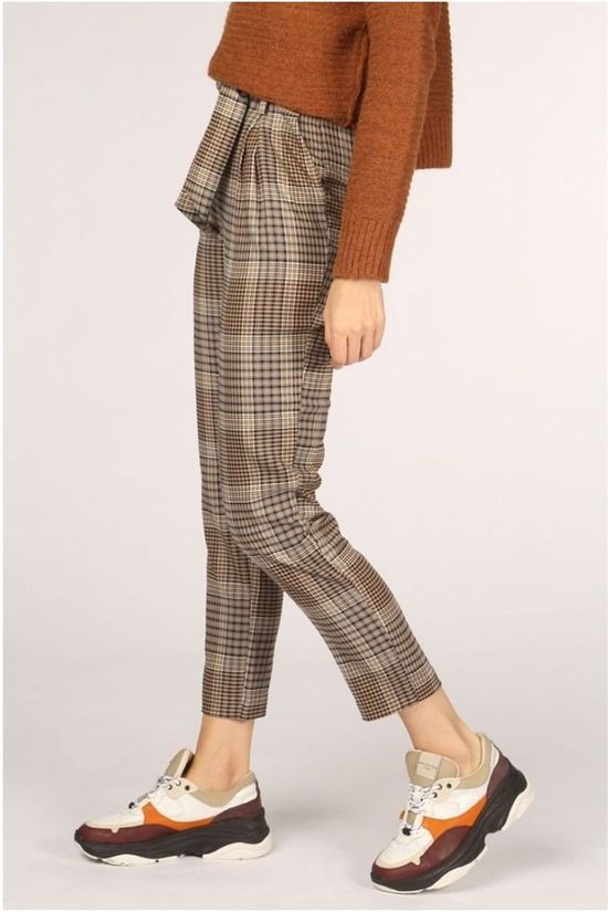 Only Trousers lena Hw Paperbag Checks Cc Tlr Camel Brown/Assorted / Mixed