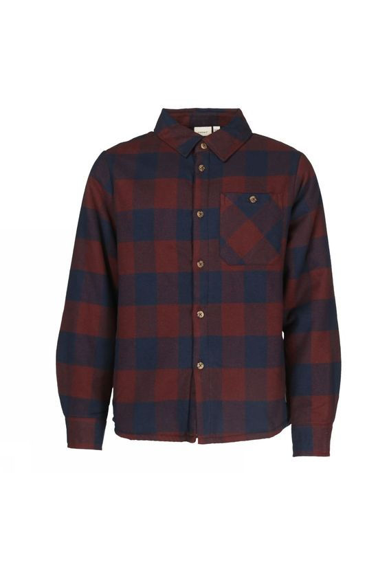 Name It Shirt mnashion Ls Teddy Shirt Dark Blue/Bordeaux / Maroon