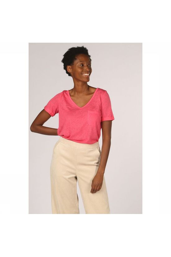 Object T-Shirt Tessi Slub Ss V Neck Seasonal Fuchsia